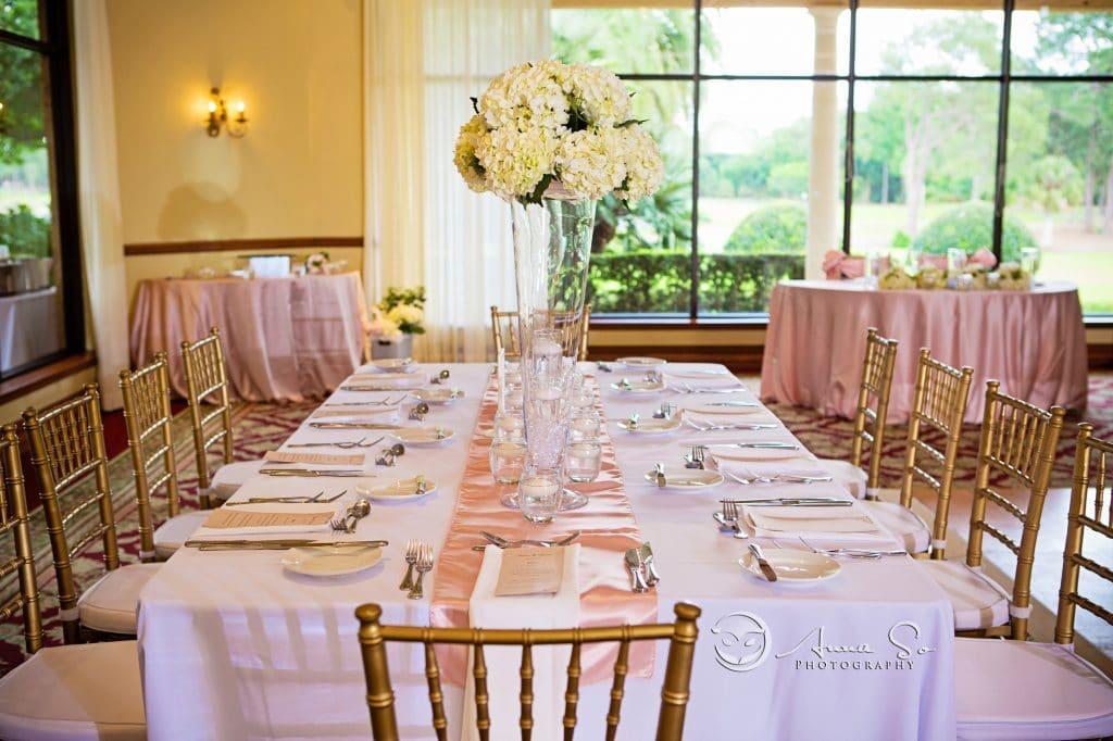Mission Inn - simple and elegant pink and white reception hall