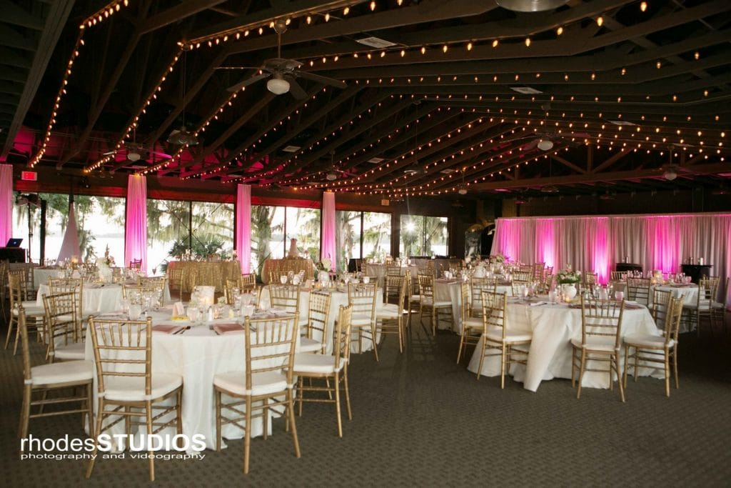 Mission Inn - elegant indoor ceremony location pink uplighting