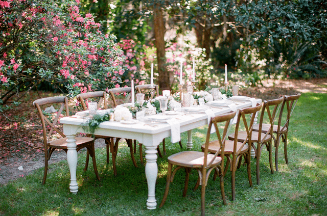 white outdoor wedding reception table