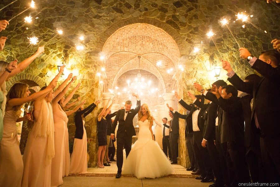 Bella Collina - bride and groom with sparkler send-off