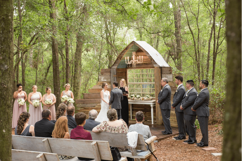 Bridle Oaks Barn - outdoor woodsy ceremony location