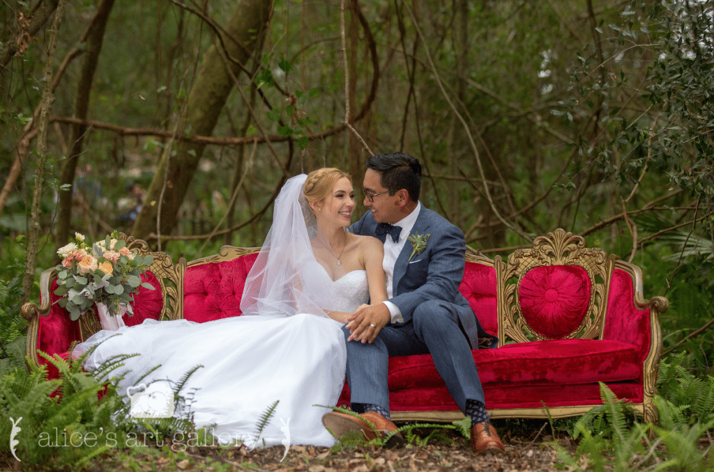 Bridle Oaks Barn - bride and groom on outdoor couch