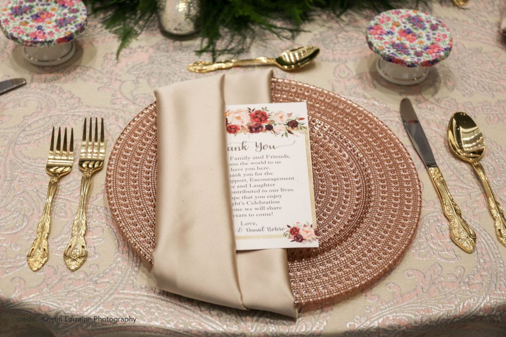 Caribe Royale - rose gold charger on table
