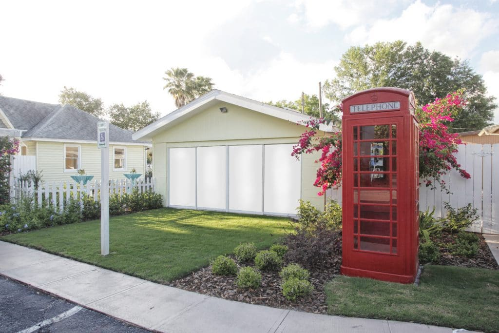 Celebration Gardens - red phone booth