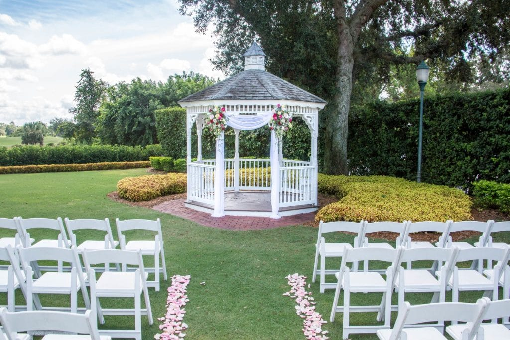 Celebration-Golf-Club-Gazebo and chairs set up for wedding ceremony