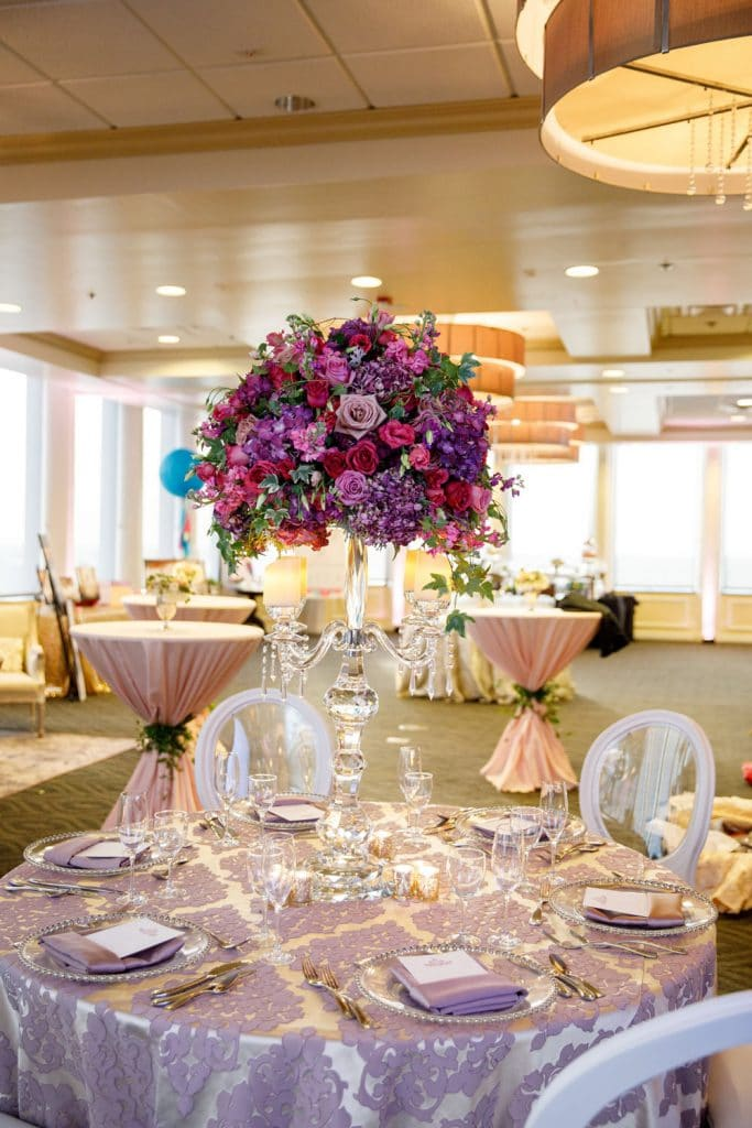 Citrus Club - lavender reception tables with stunning purple centerpieces
