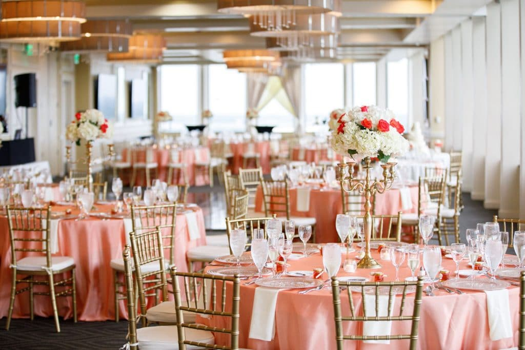 Citrus Club - pink reception tables with gold chiavari chairs