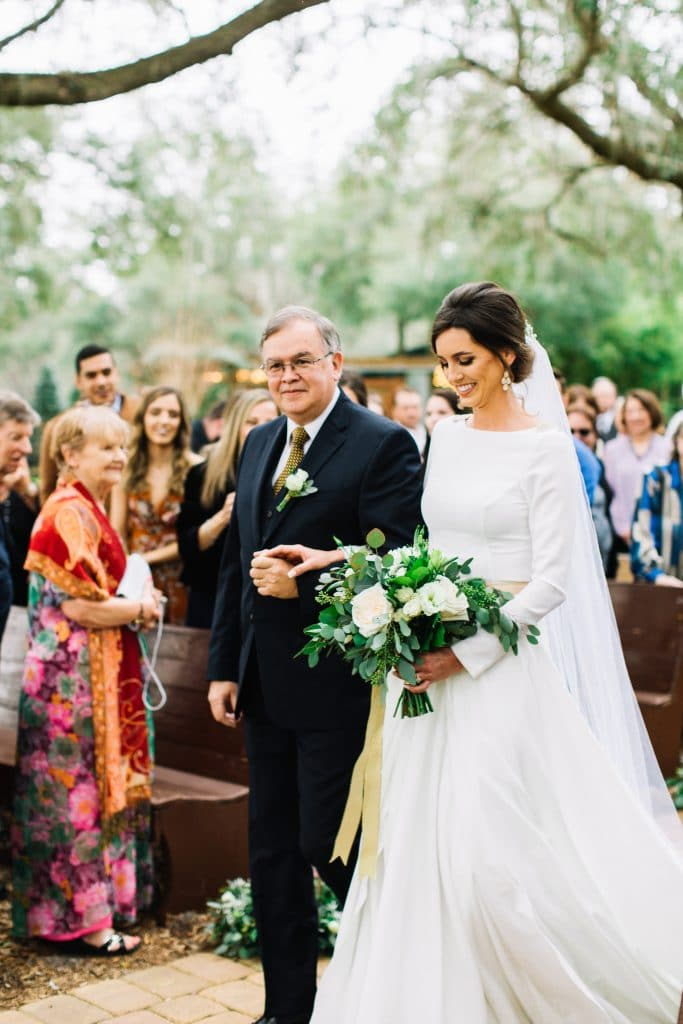 Club Lake Plantation - bride and her father walking up aisle