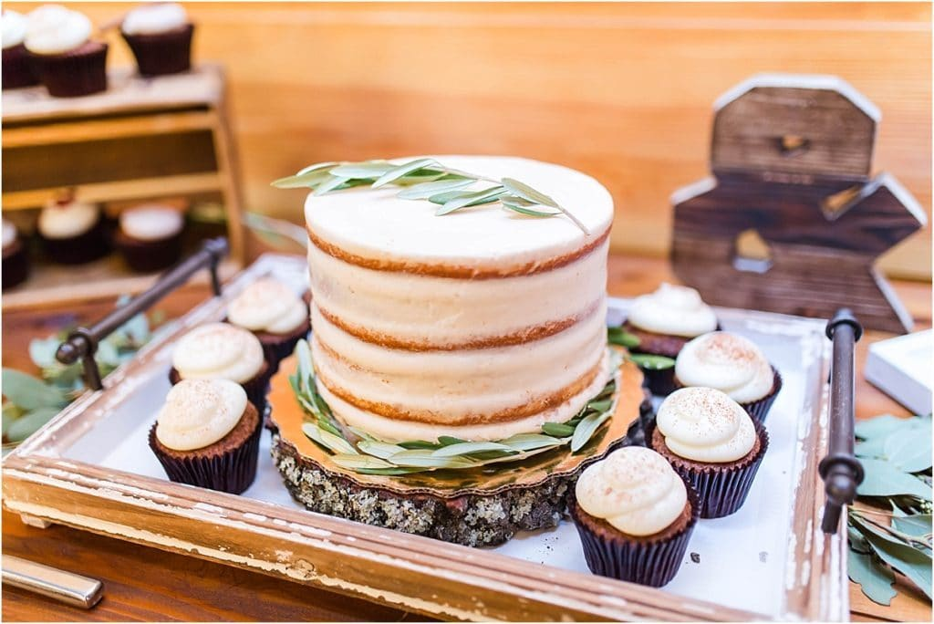 Club Lake Plantation - very simple naked cake with sage sprigs