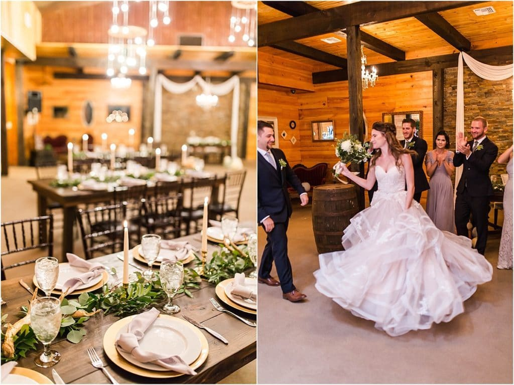 Club Lake Plantation - bride dancing in rustic chic reception hall