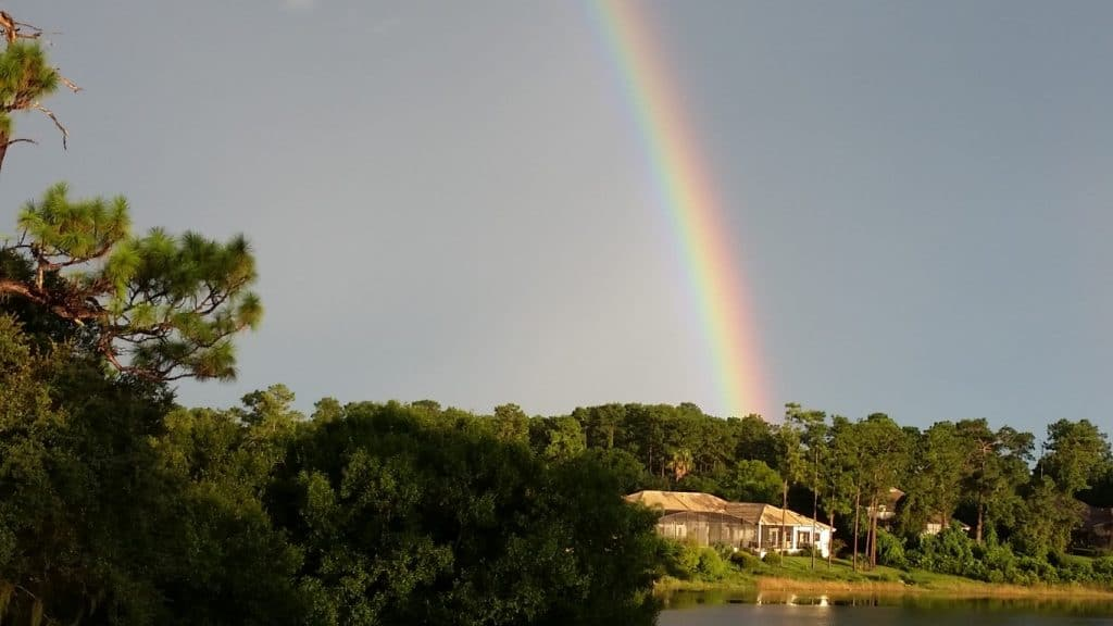 Debary-Golf-Country-Club-Bright rainbow over lake