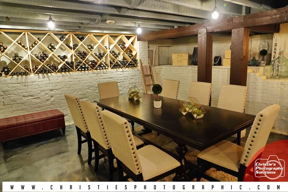 Dr Phillips House Downtown Orlando Wedding Venue indoor seating area with wine racks