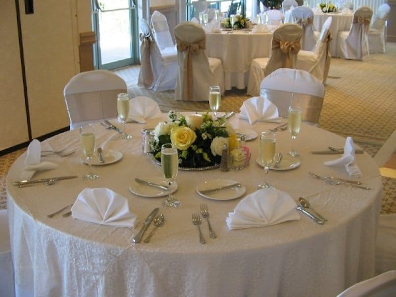 Falcon's Fire white table setup for wedding reception