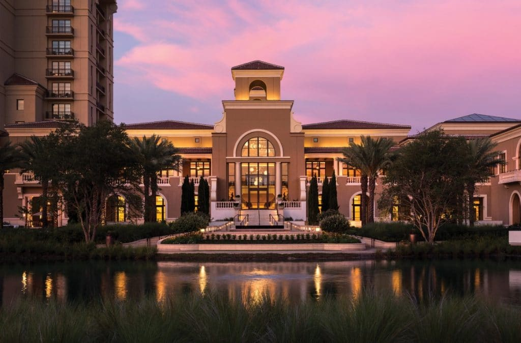 Four-Seasons-at-Walt-Disney-World-Outside front view of hotel at dusk