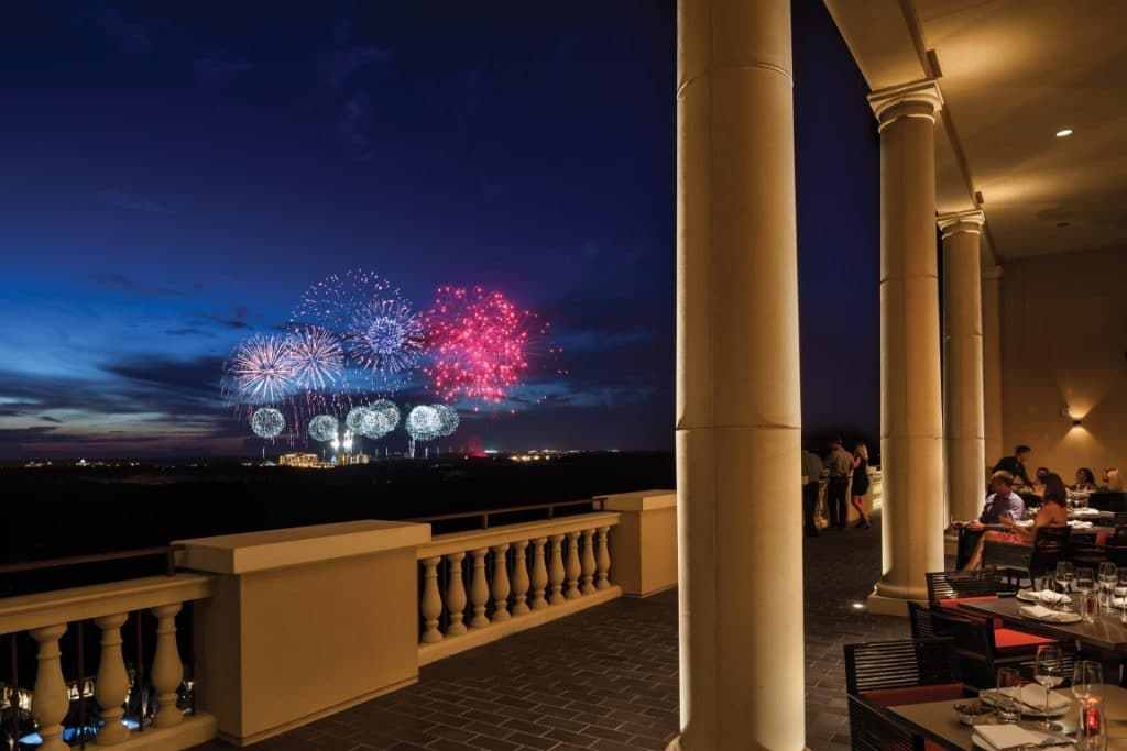 Four-Seasons-at-Walt-Disney-World-Large Fireworks viewed from outdoor veranda of resort