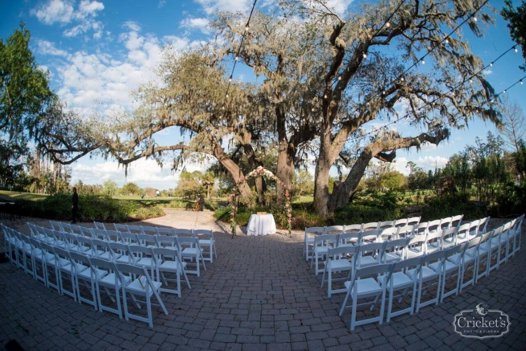 Historic-Dubsdread-Ballroom-Outdoor tree venue for ceremony during daylight