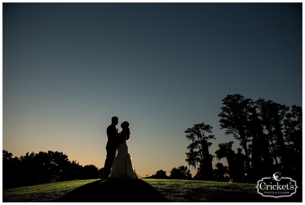 Historic-Dubsdread-Ballroom-Silhouette of Bride and Groom at dusk