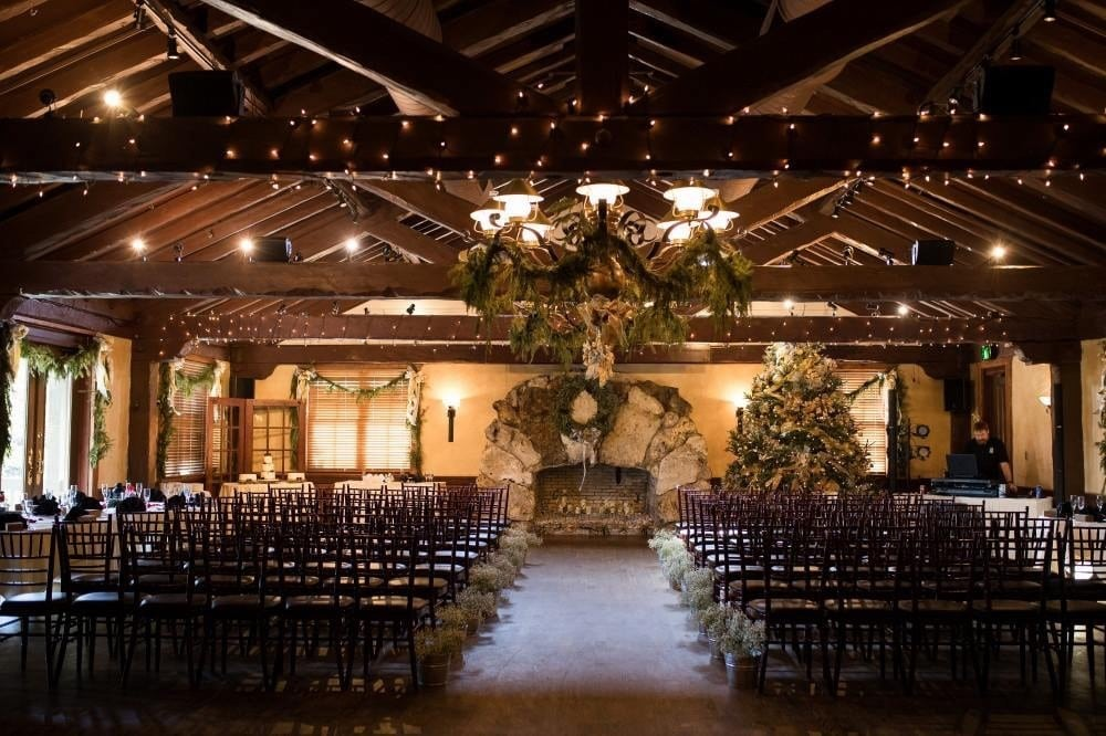 Historic-Dubsdread-Ballroom- Ballroom dimly lit for ceremony by stone fireplace