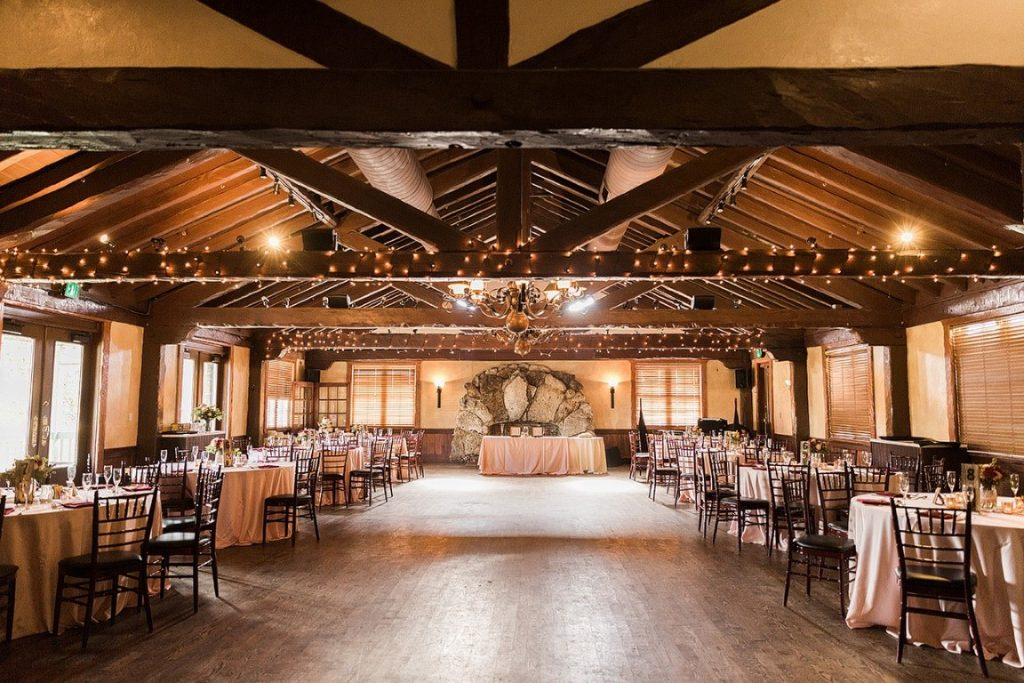 Historic-Dubsdread-Ballroom-Large open dancefloor for reception with wood paneling ceilings