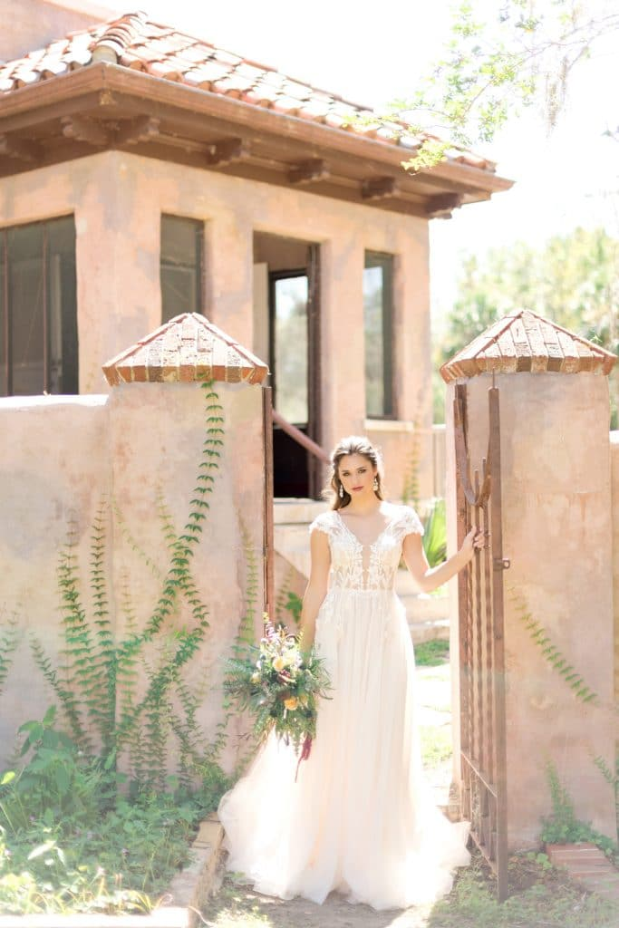 The Howey Mansion - bride in Spanish revival setting