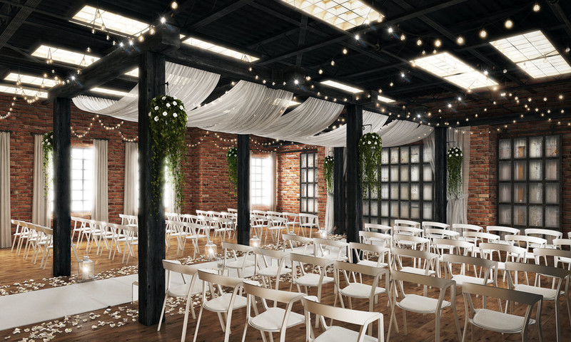 Hub 925 - indoor ceremony space with brick walls and white ceiling drapery
