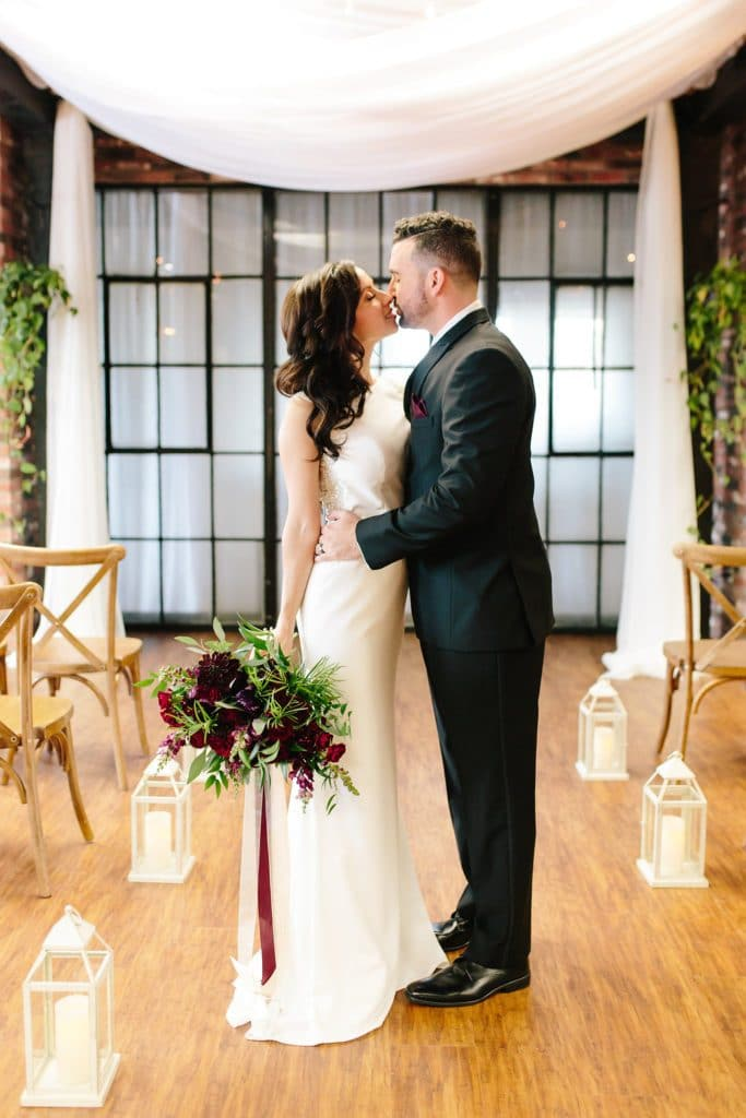 Hub 925 - bride and groom in airy ceremony space