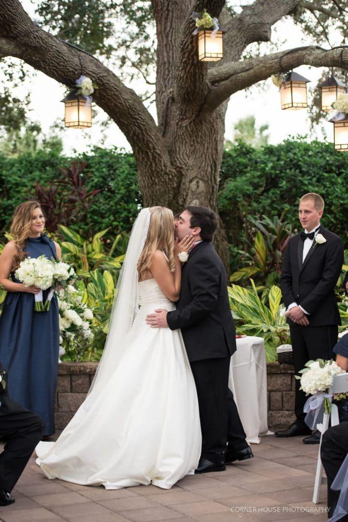 Hyatt Regency Grand Cypress - bride and groom first kiss