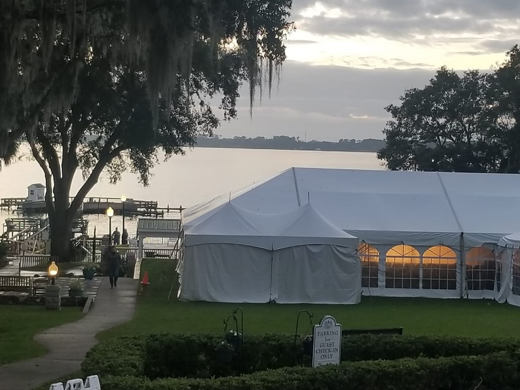 Lakeside-Inn- Outdoor tent set up by the lake and dock