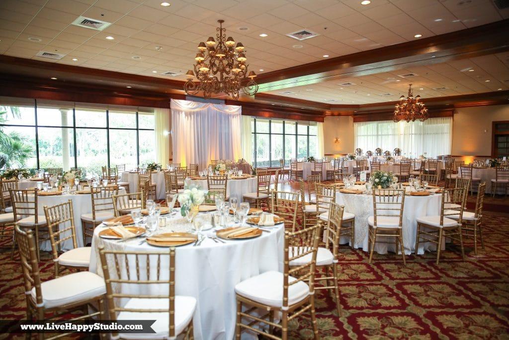 Legends Ballroom wedding reception gold and white Mission Inn Resort