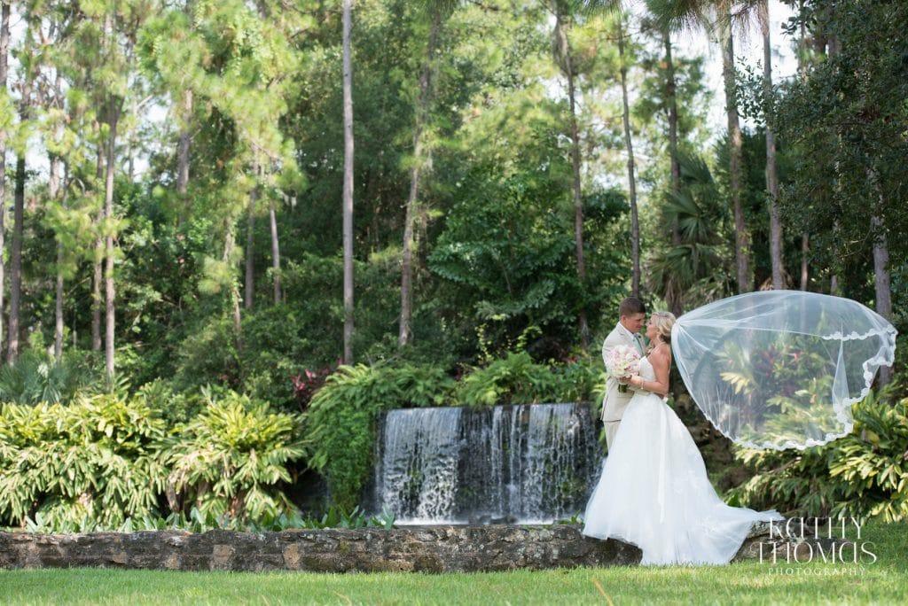bride and groom waterfall mission inn resort