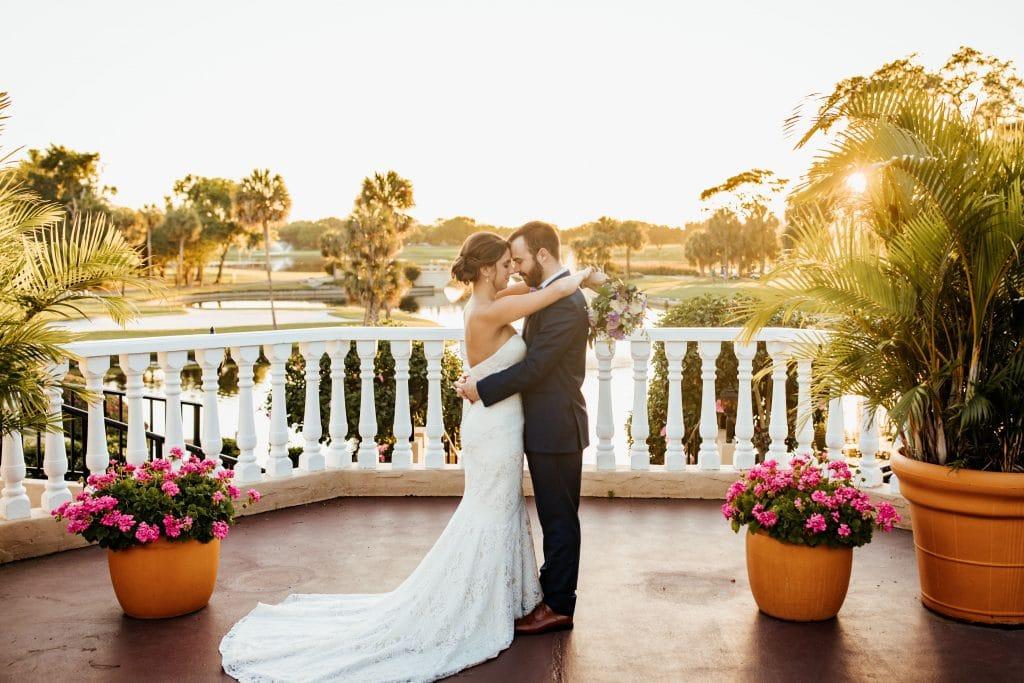bride and groom plaza de la fontana wedding ceremony location mission inn resort