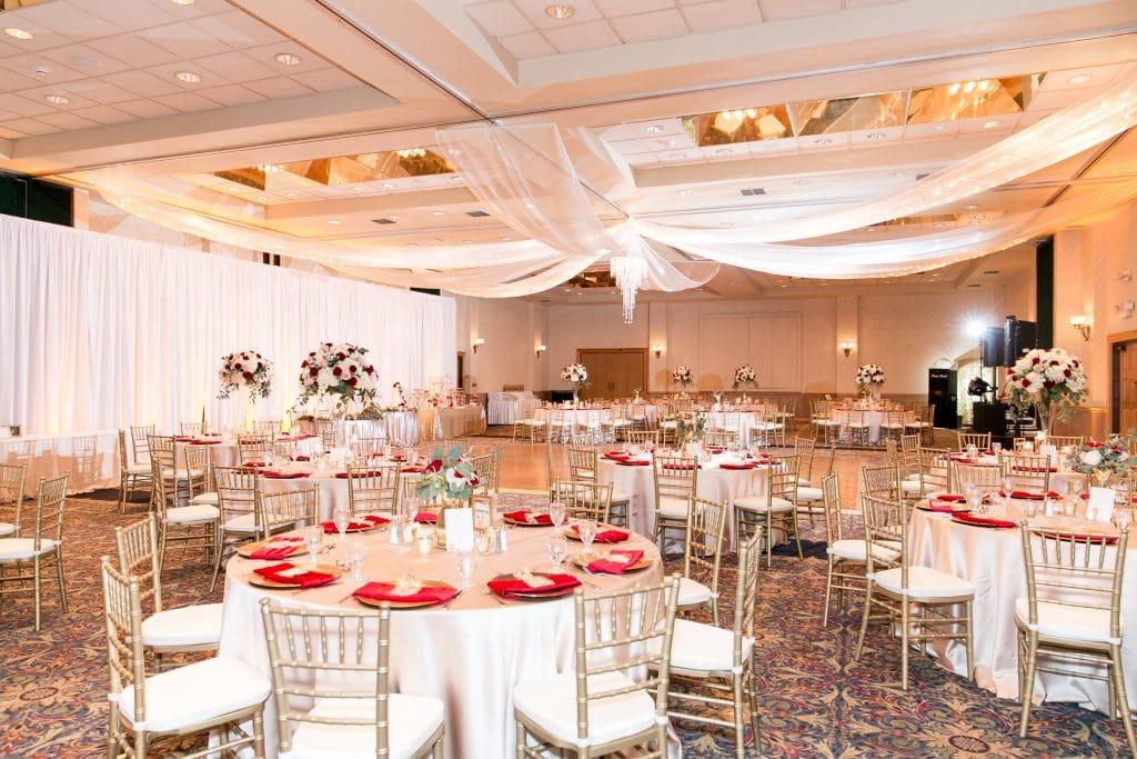 grand ballroom gold and red wedding mission inn resort