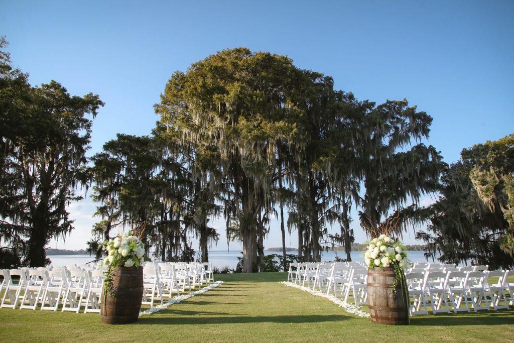 Lakefront Wedding Ceremony wine barrels at Mission Inn Resort wedding marina del rey