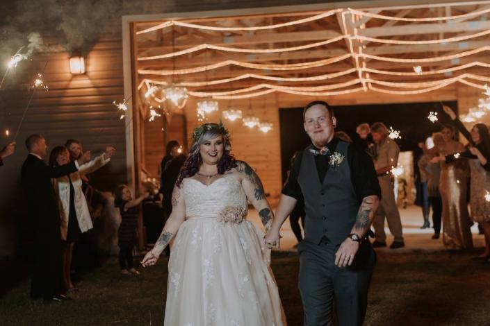 Mystical Winds bride and groom sparkler exit at end of wedding reception
