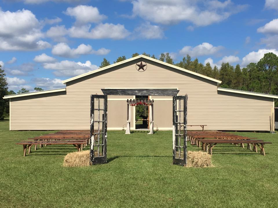 outdoor wedding ceremony setup at mystical winds wedding venue