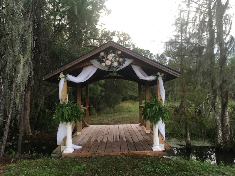 Mystical Winds covered bridge decorated with wedding lace