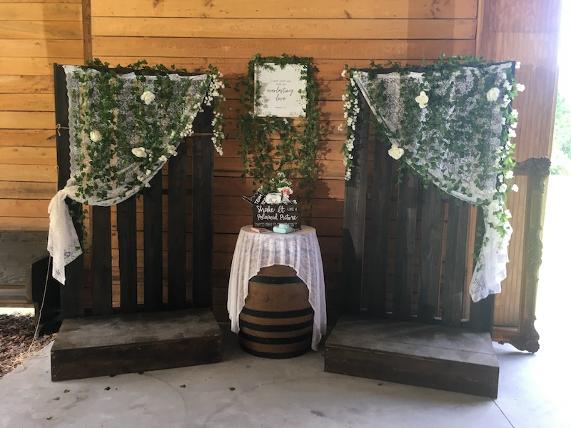 Mystical Winds decorations set up for wedding reception