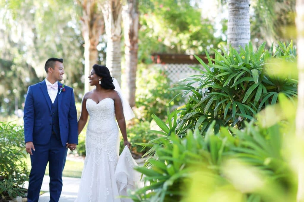 Paradise Cove - Bride and groom enjoying a tropical setting