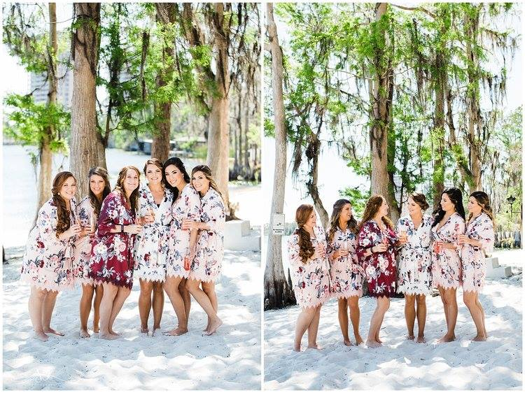 Paradise Cove - bride and bridesmaids in robes on the