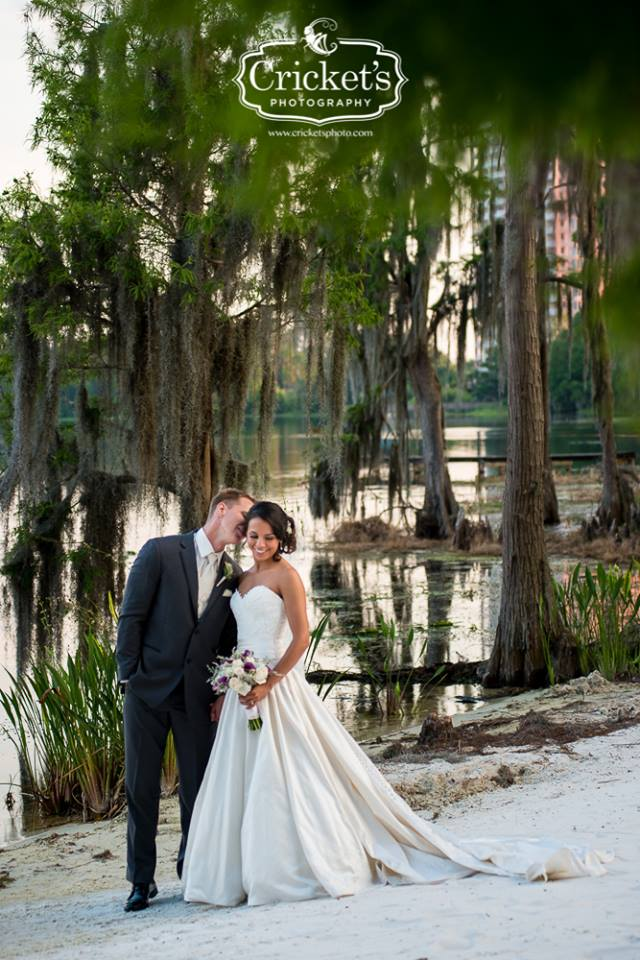 Paradise Cove - bride and groom among Cypress trees on sandy lakeshore
