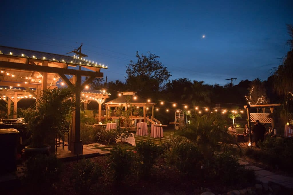 Rockledge Gardens - outdoor venue lit up with market lights