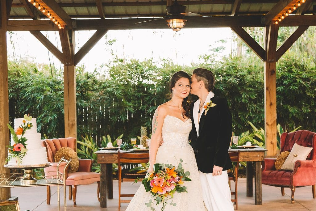 Rockledge Gardens - two brides under cute pavilion