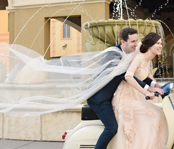 Guest Post Submission Guidelines - bride and groom on Vespa with veil blowing