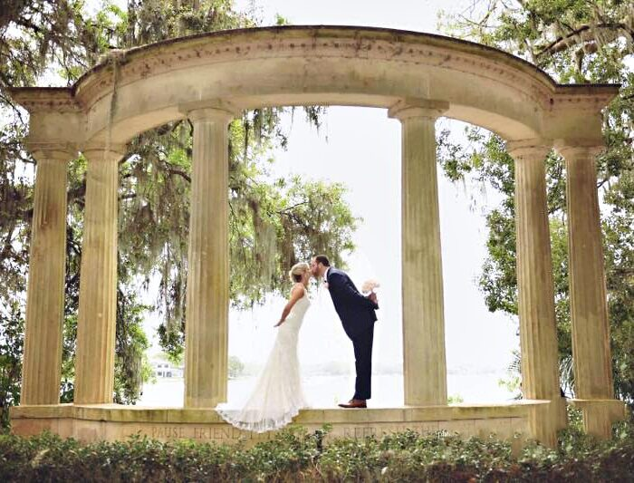 Guest Post Submission Guidelines - bride and groom kissing under stone archway