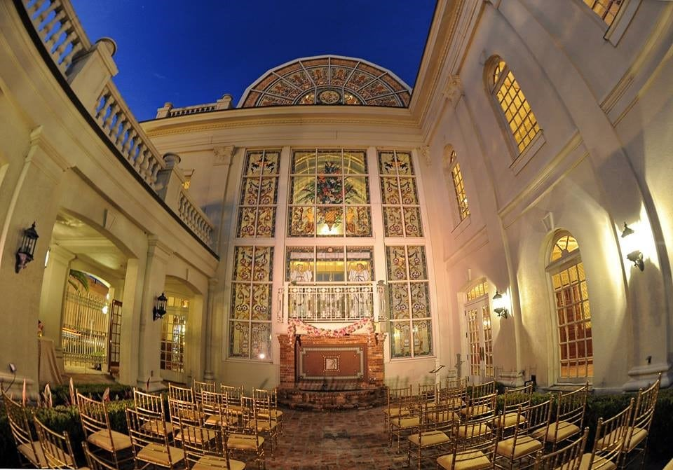 The-Ballroom-on-Church-Street-Outdoor Courtyard view set up with chairs for ceremony