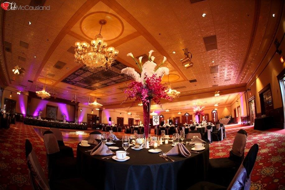 The-Ballroom-on-Church-Street-Table display with tall floral centerpiece