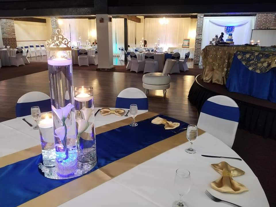 The Bella Room - reception tables in blue and gold