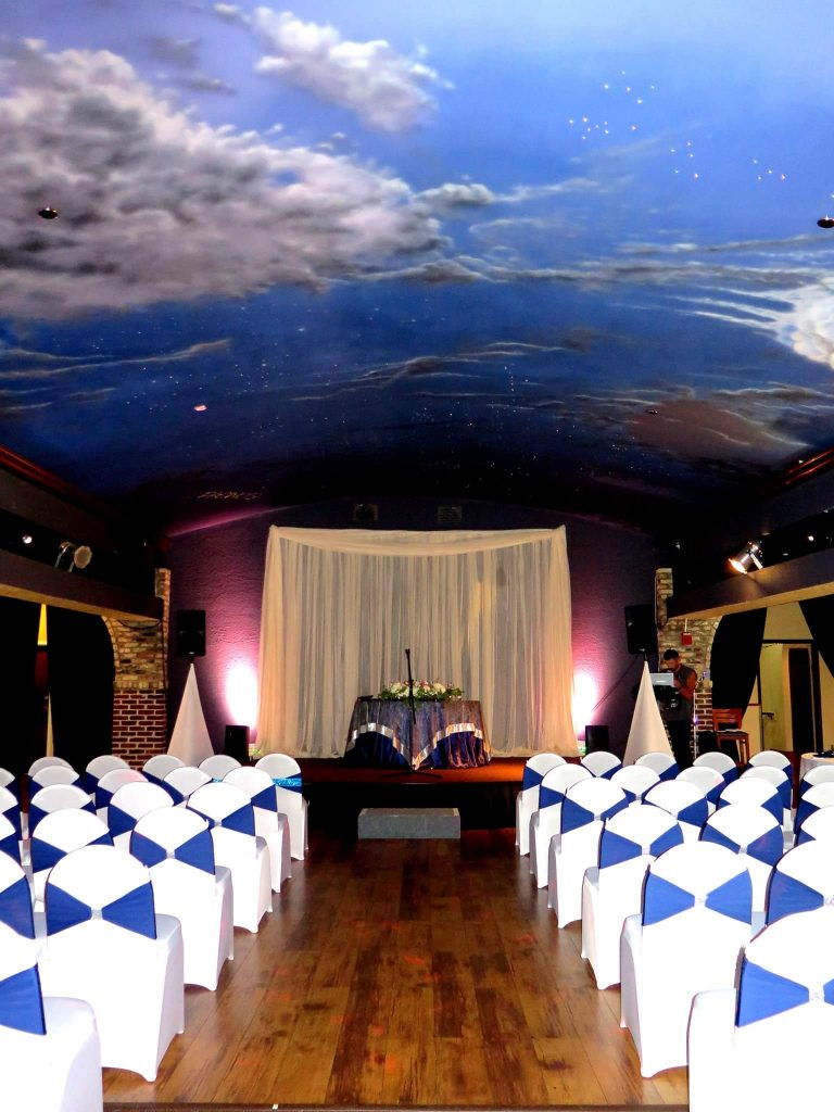 The Bella Room - ceremony ceiling painted to look like the sky