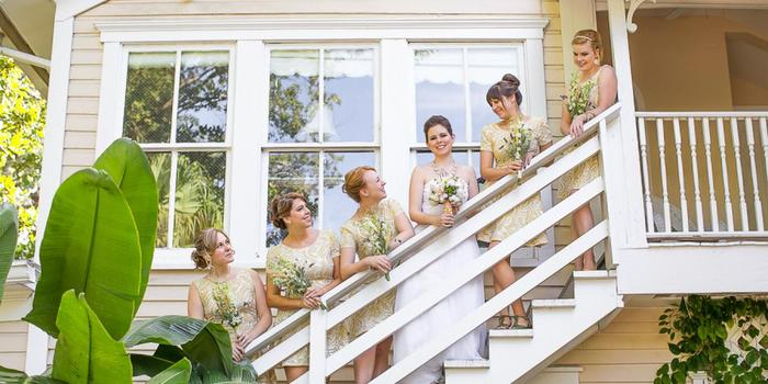 The Courtyard at Lake Lucerne - bridal party on outdoor staircase