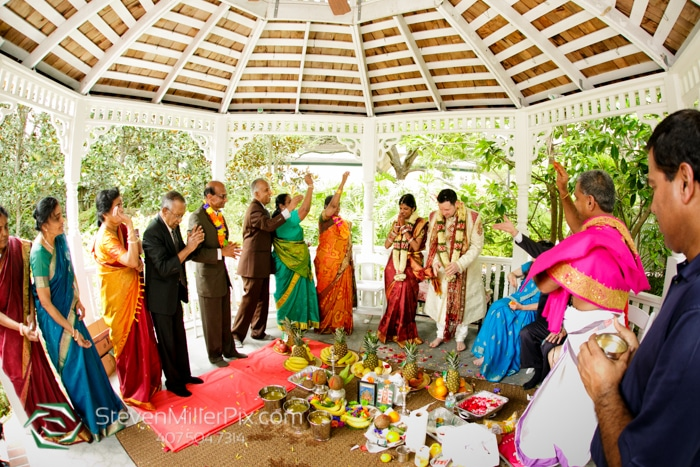 The Courtyard at Lake Lucerne - colorful Indian wedding in gazebo